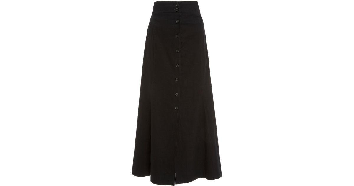 5eedb82aa10c A.L.C. Amelie High Waist Button Front Midi Skirt in Black - Lyst