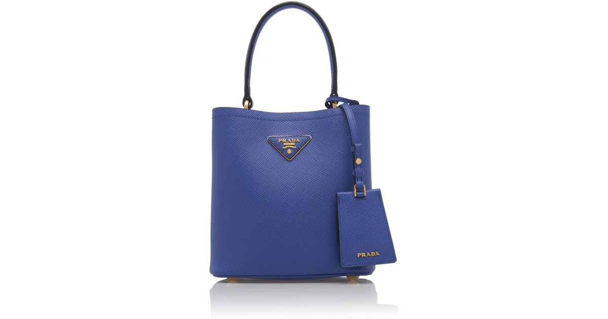 Lyst - Prada Small Saffiano Leather Double Bucket Bag in Blue 60c191d23ab87