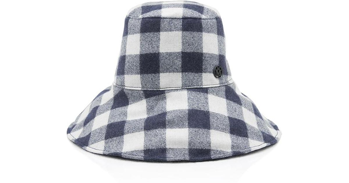 Lyst - Maison Michel Isabella Checked Hat in Blue 68c71b8a8ff0