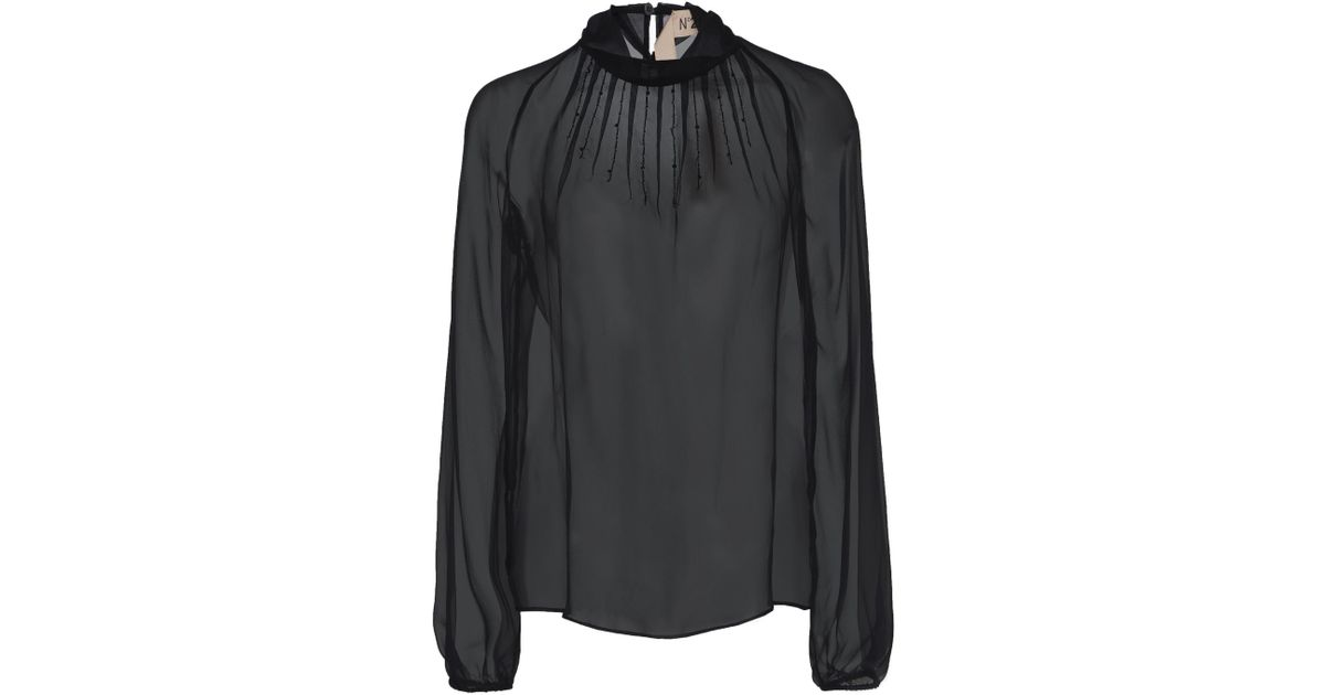 cbd2009570b80 N°21 Janice Silk-mesh Blouse in Black - Lyst