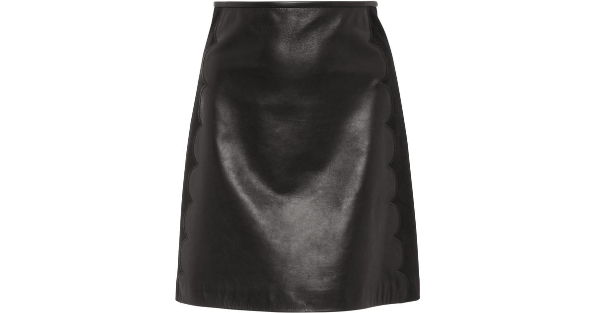 10ef1c14b0 RED Valentino Scalloped Leather Mini Skirt in Black - Lyst