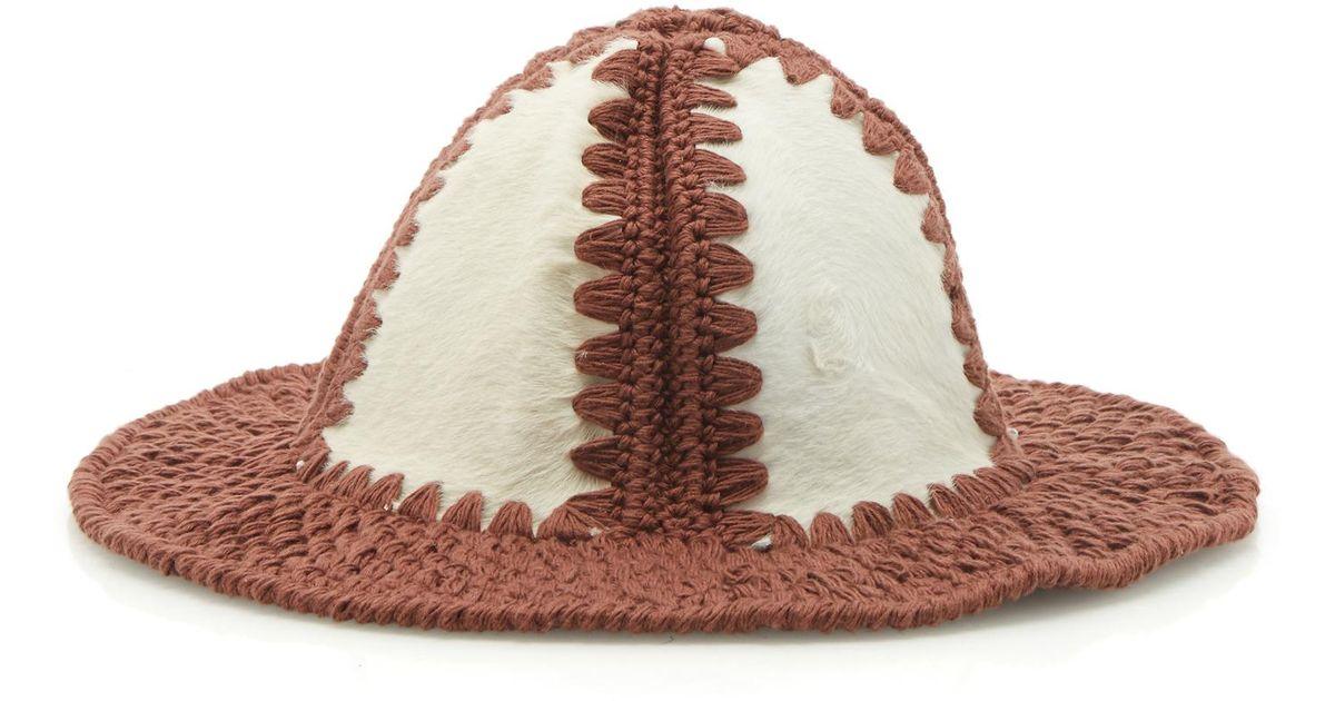 8bf15a9c423 Lyst - Loewe Handmade Knit Hat in Brown