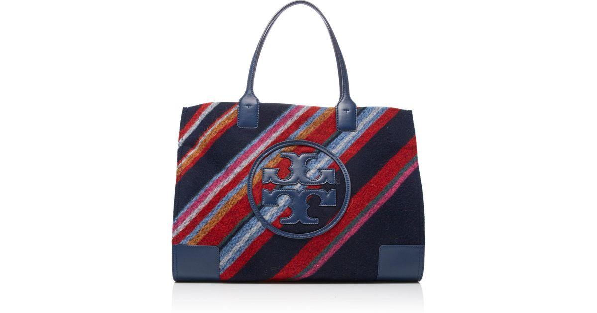 b1a45fb61 Lyst - Tory Burch Ella Fabric Stripe Tote in Blue