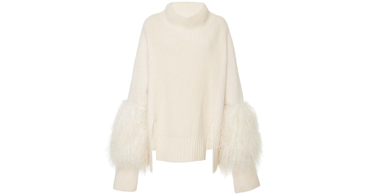 1fefe3b26fb Sally Lapointe White Felted Cashmere Funnel Neck Sweater