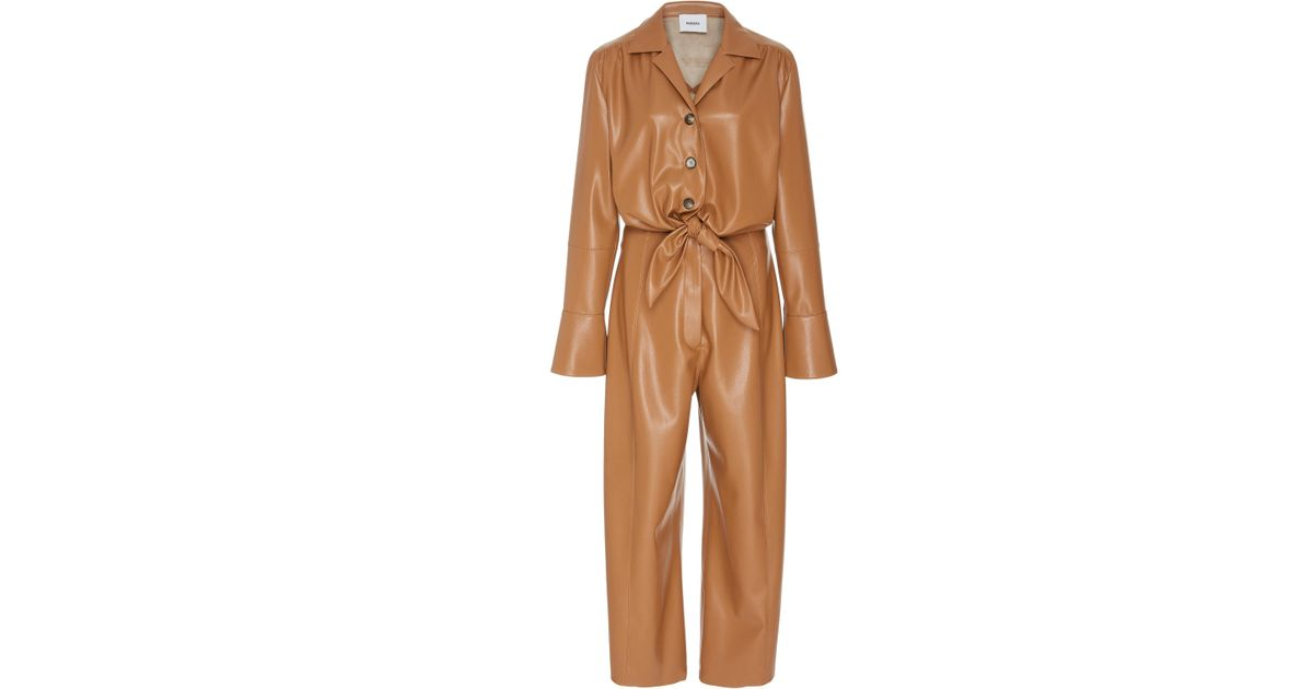 62ab7d4199d9 Lyst - Nanushka Ana Tie Front Vegan Leather Jumpsuit in Brown