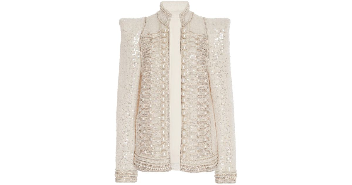 1609903e Balmain Pearl Embroidered Sequin Jacket in White - Lyst