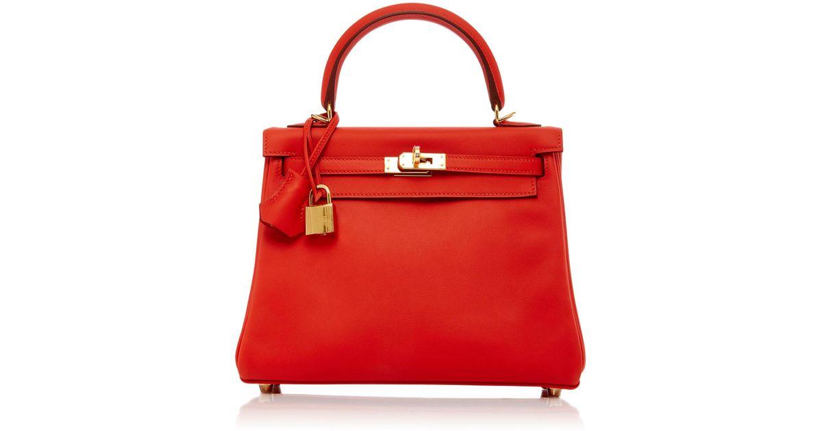 fecae36eabba ... danse clutch 12c9e a5740 good lyst maia hermes 25cm red capuccine swift  leather kelly in red 54223 82b5a ...