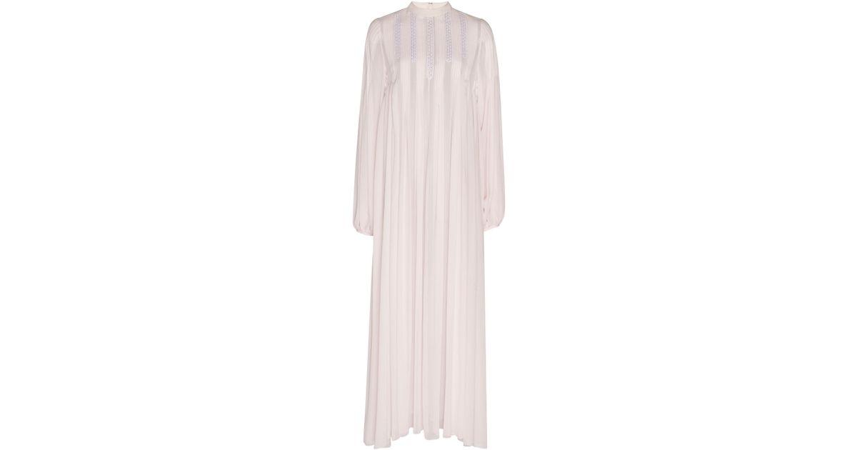 8d713eb4fe1b Lyst - Giambattista Valli Chiffon Mock Neck Shift Dress in Pink
