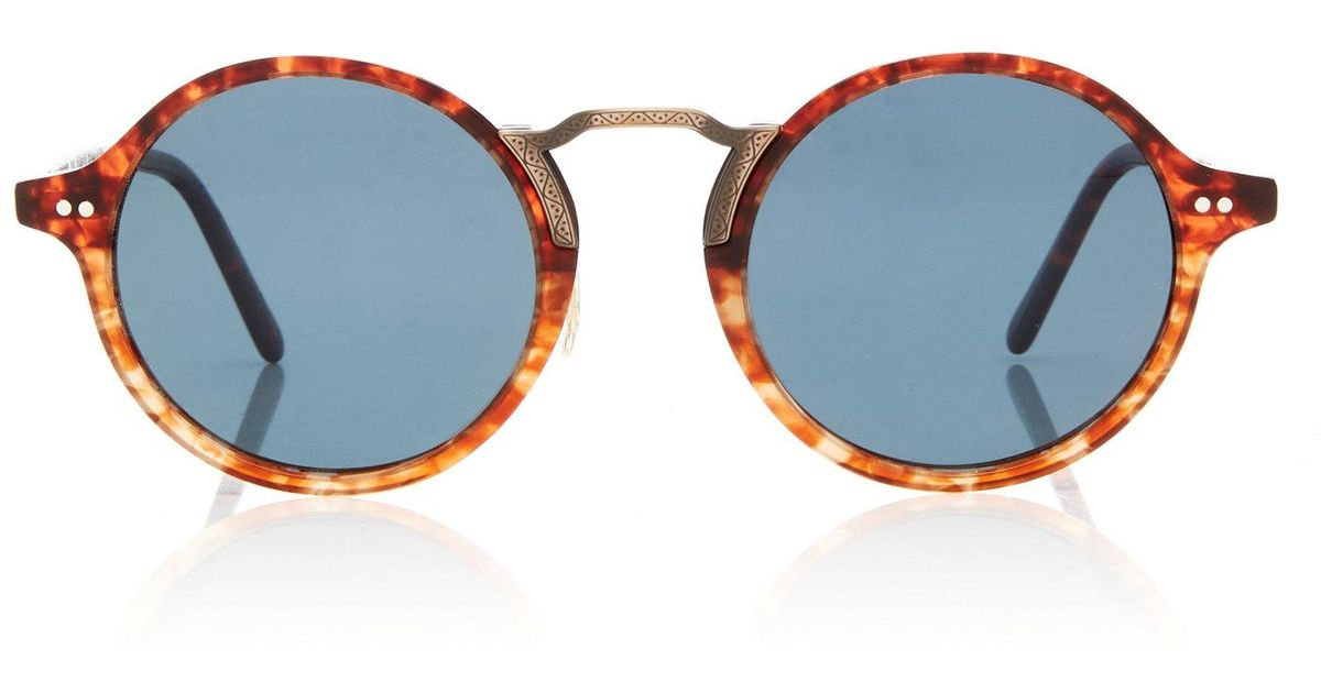 f1807dccdfec Lyst - Oliver Peoples Kosa Round-frame Acetate Sunglasses in Blue for Men