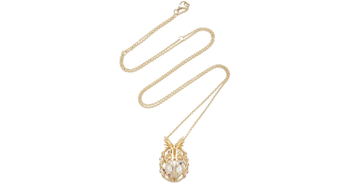 Yvonne Léon 18k gold pineapple necklace with pearl OgKH0Ip