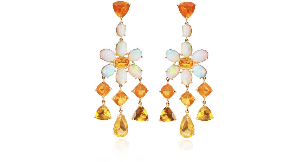Lyst Nina Runsdorf M O Exclusive One Of A Kind Mixed Shape Mexican Fire Opal Earrings In Orange