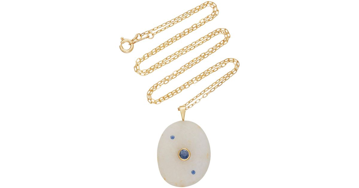 MO Exclusive: 18K Gold Beach Stone and Sapphire Sea Ring CVC e5Bs1
