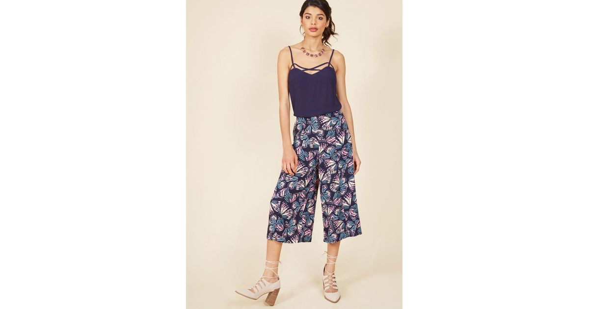 9df8e7cfe4b ModCloth Eye-catching Mastery Pants In Navy Butterfly in Blue - Lyst