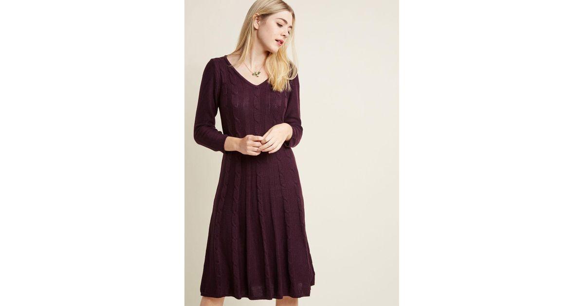 42deed9c0f4 Lyst - ModCloth Cable Knit Charmer Midi Sweater Dress in Purple