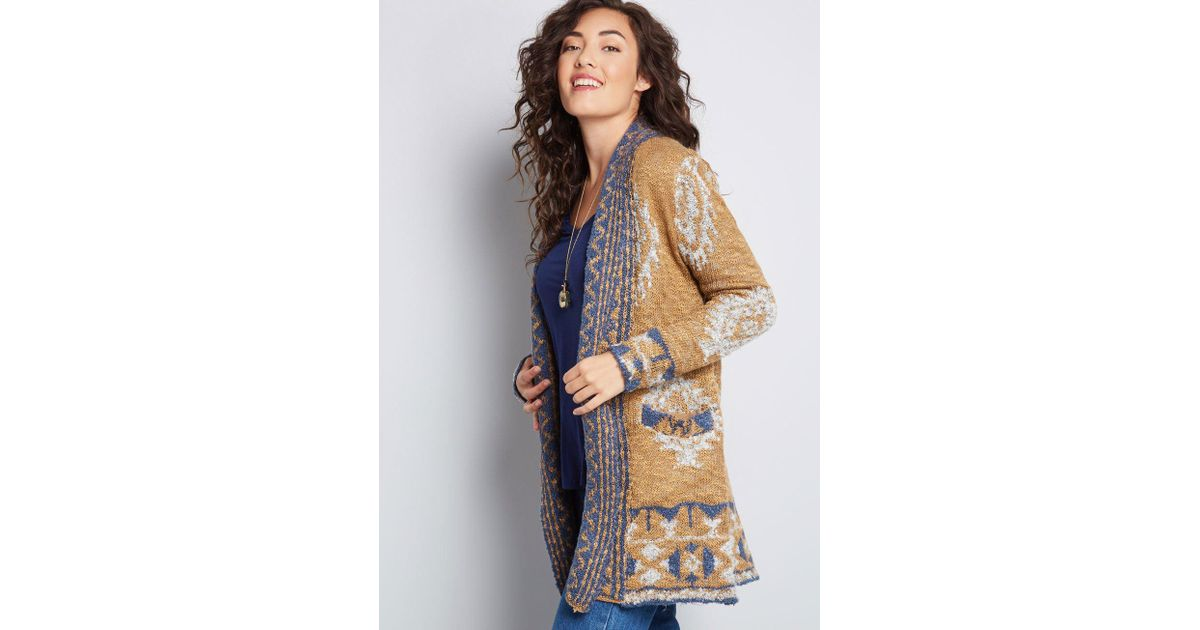 Lyst - ModCloth Cafe Creator Oversized Cardigan in Brown cb97b7883