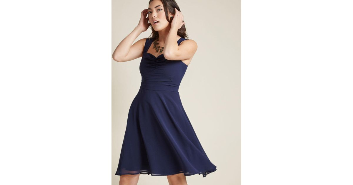 61350edff33 ModCloth Sleeveless Chiffon Cocktail Dress In Navy in Blue - Lyst