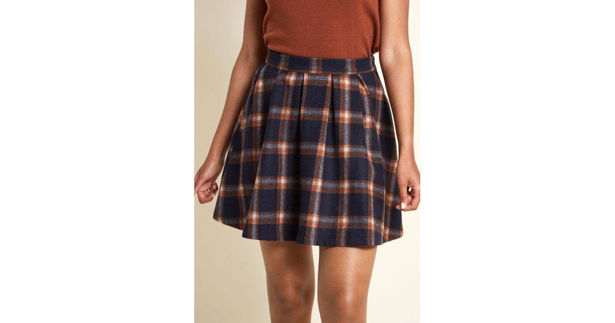 a193e79ed55 Lyst - ModCloth Brisk-taker Wool Mini Skirt in Blue