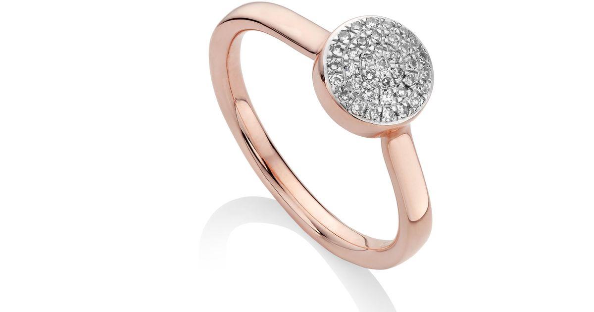 Anneau Bouton Diamant Fidji, Argent Sterling Monica Vinader