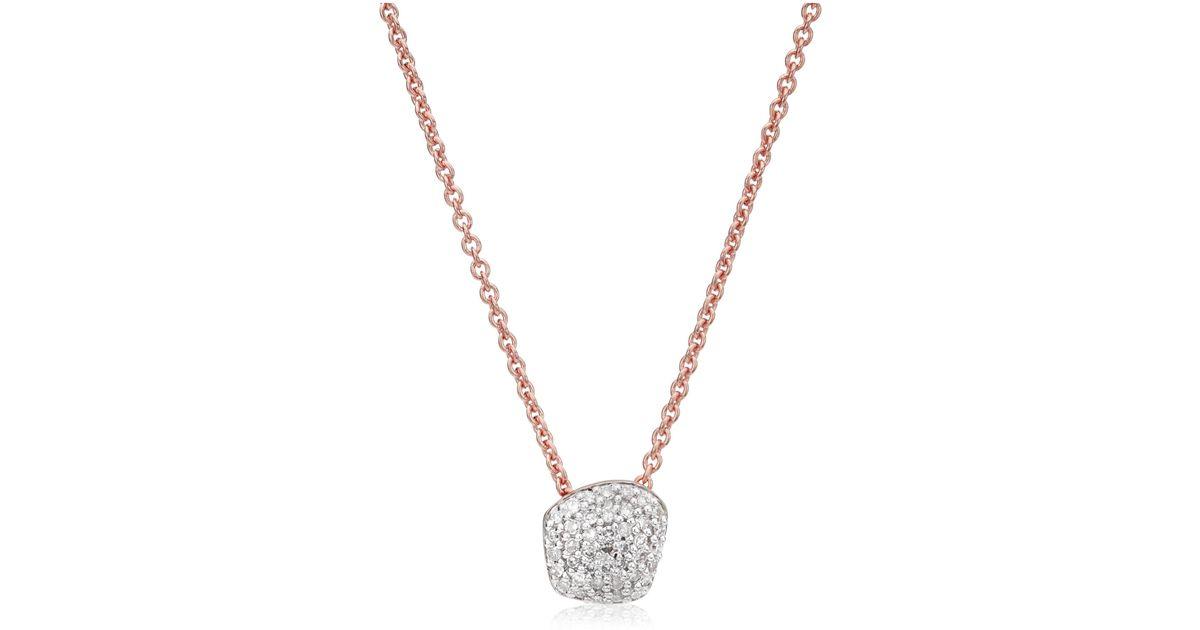 Rose Gold Nura Mini Heart Necklace Diamond Monica Vinader G6yiJ8f3H