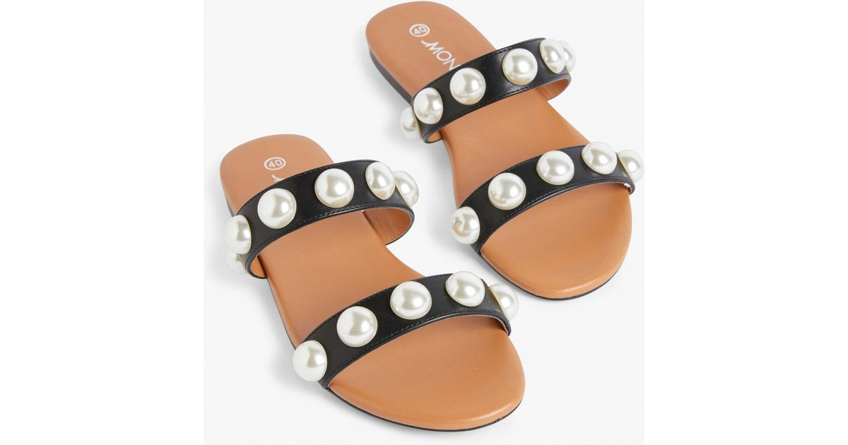 87127722205a Monki Imitation Pearl Sandals in Black - Lyst