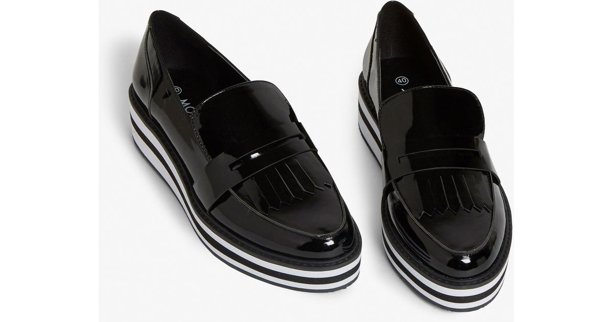 b7dfc062ae1 Monki Stripe Platform Loafer In Patent Black in Black - Save 50% - Lyst