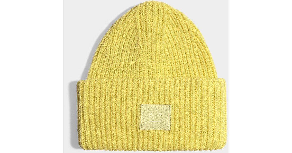 bff42d1a5e6 Lyst - Acne Studios Pansy N Face beanie aus blassgelber Wolle in Gelb