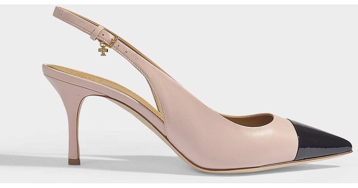 c4f22c2ccd1a Lyst - Tory Burch Penelope 65 Two Tone Slingbacks In Sea Shell Pink And  Black Calf And Patent Leathers
