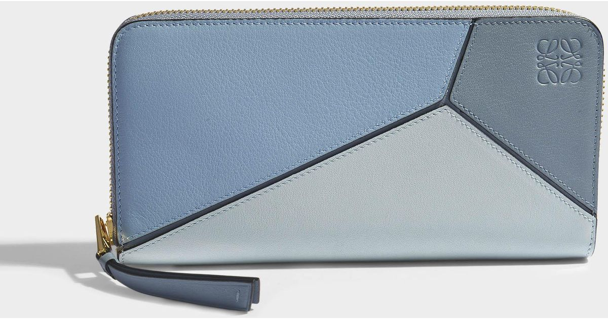 puzzle Zip Around Wallet in Aqua, Light Blue and Stone Blue Calfskin Loewe