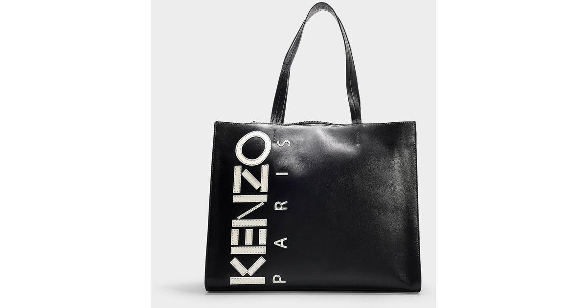 4cee3e29d4 KENZO - Logo Small Shopper Bag In Black Calfskin - Lyst