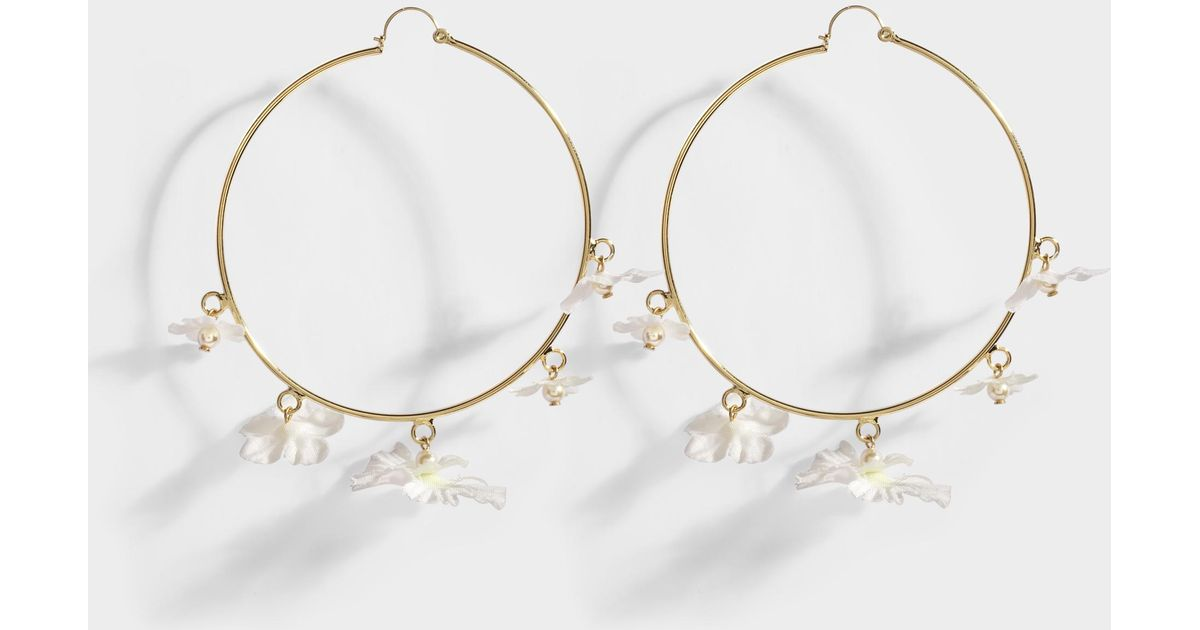 Lyst anton heunis white flower hoop earrings in white and crystal lyst anton heunis white flower hoop earrings in white and crystal metal in white mightylinksfo