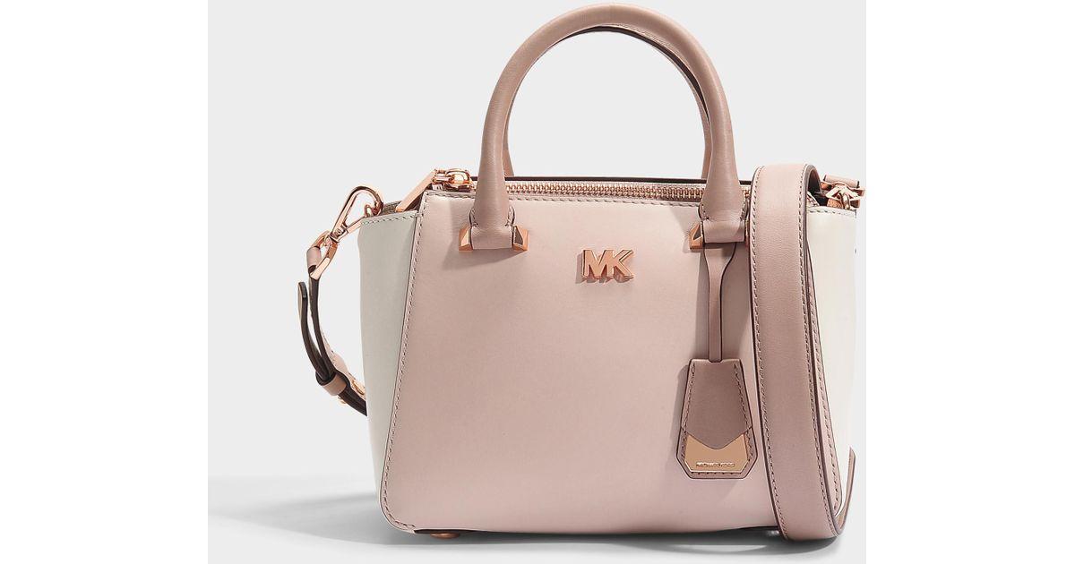 6f63cabcab4c8 Lyst - MICHAEL Michael Kors Nolita Mini Messenger Bag In Pink And White  Leather