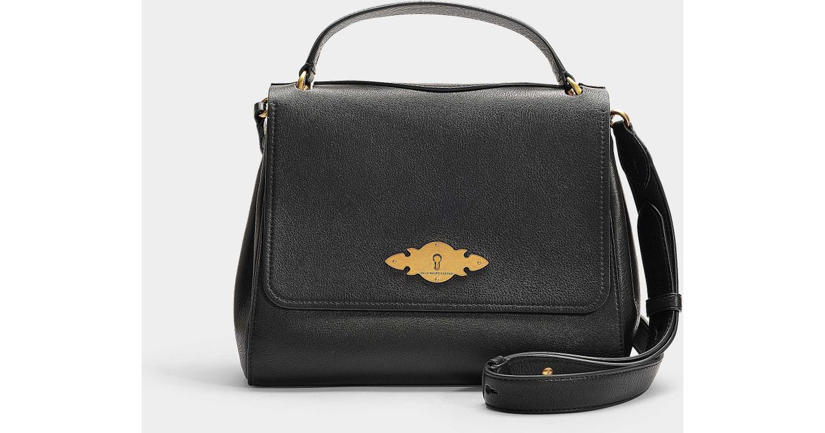 33d7839cff Polo Ralph Lauren Brooke Small Messenger Bag In Black Calfskin in Black -  Lyst