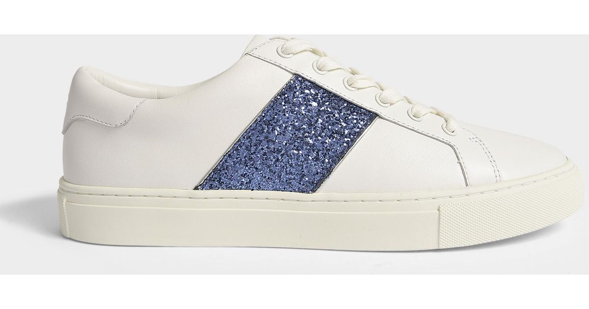 0567be495 Lyst - Tory Burch Carter Glitter Lace Up Sneakers in White