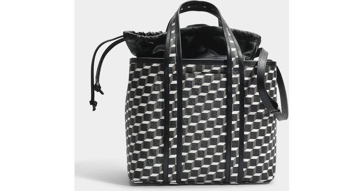 Tote Bag in Black and White Cube Canvas and Calfskin Pierre Hardy