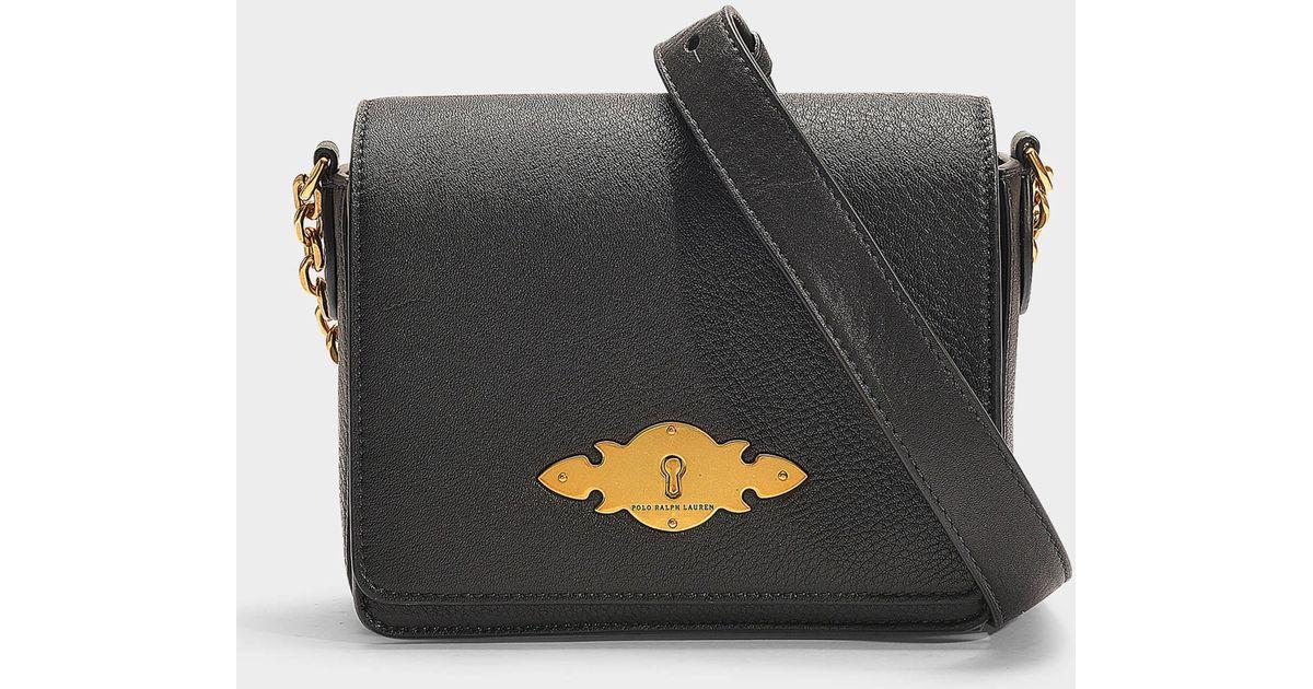4cacd14fa1 Petit sac à main porté travers brooke en cuir de veau noir Polo Ralph  Lauren en coloris Noir - Lyst