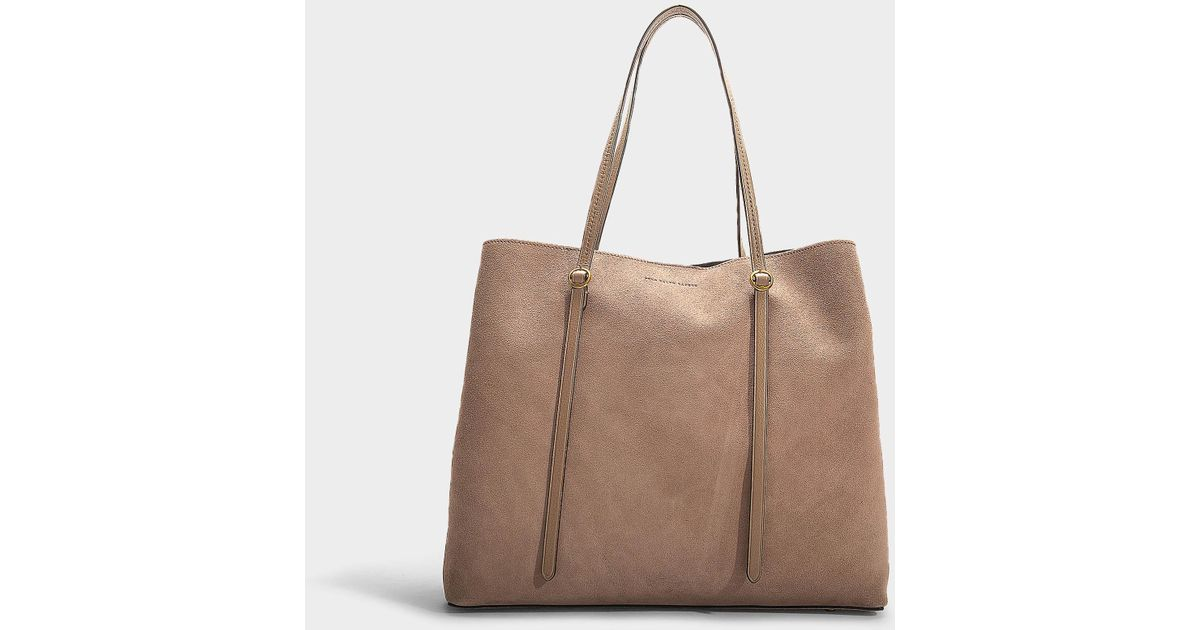 a38ab4564bd Polo Ralph Lauren Big Lennox Tote Bag In Taupe Calfskin in Brown - Lyst