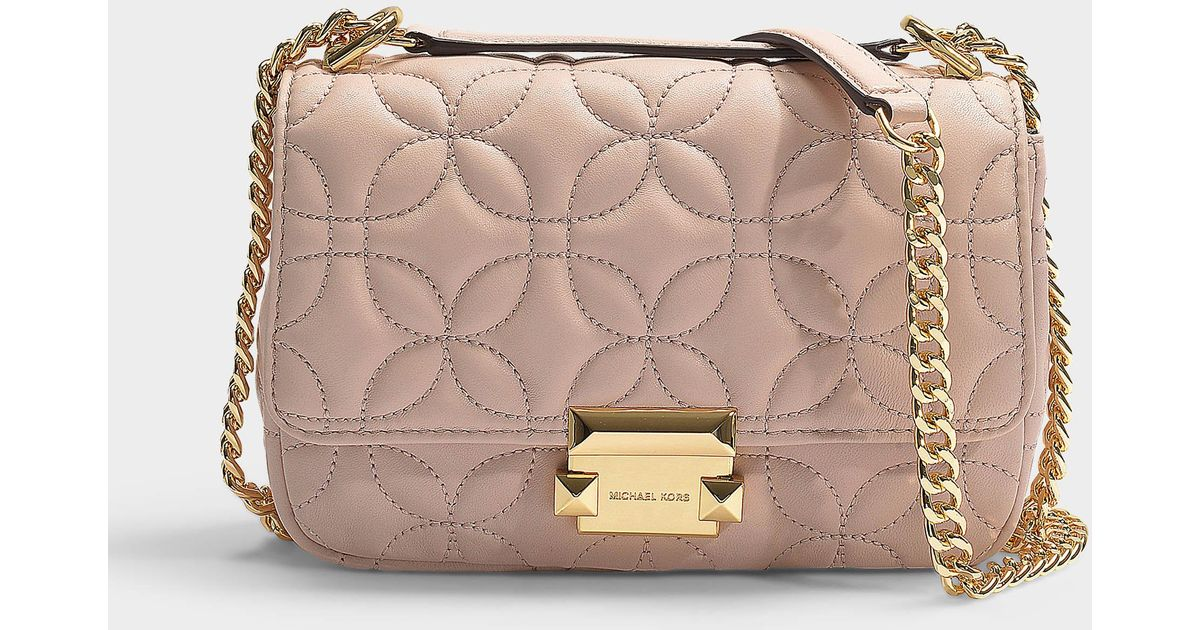 1fca6c83808efd MICHAEL Michael Kors Sloan Small Chain Shoulder Bag In Soft Pink Quilted  Lambskin in Pink - Lyst