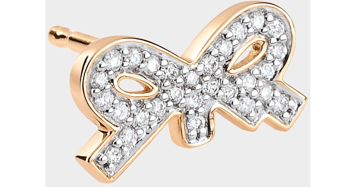 Ginette NY Single Tiny Diamond Bow Stud Earring in 18K Rose Gold and Diamonds iXMXhQBq
