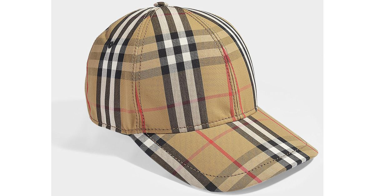 ae4574a3b4f Lyst - Burberry Vintage Check Baseball Cap In Antique Yellow Cotton in  Yellow