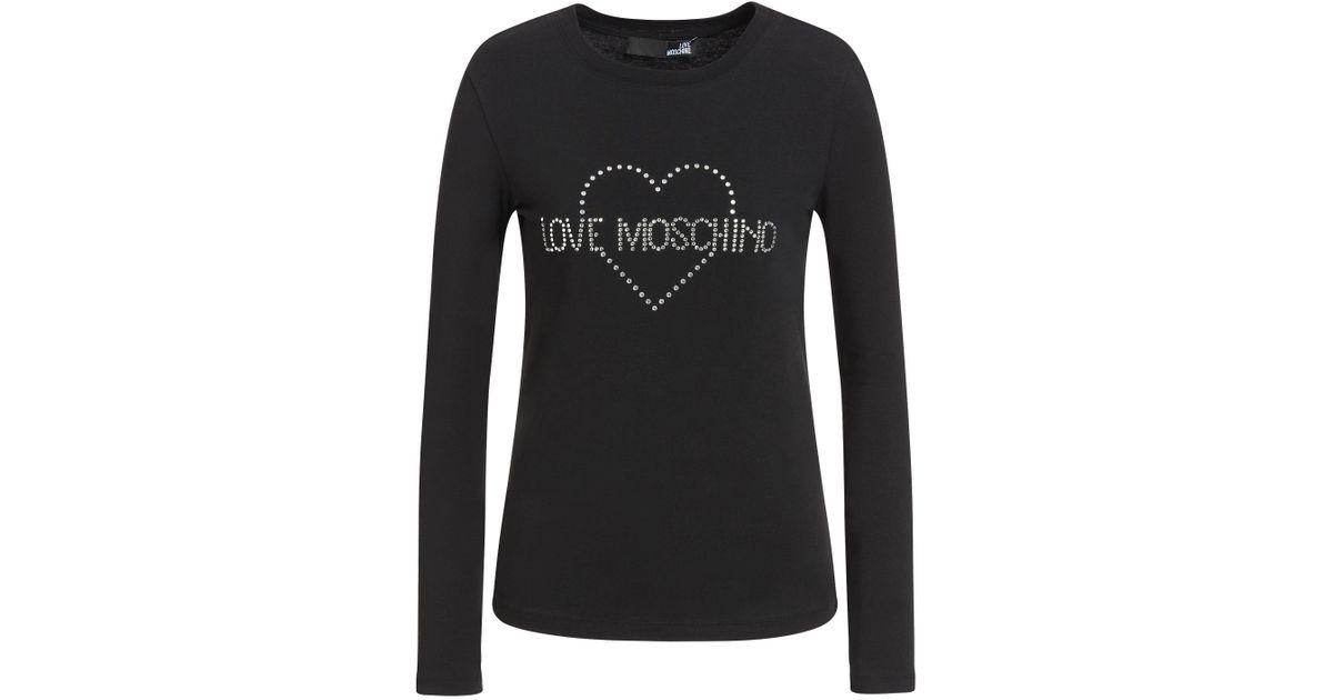 6fcb3bc6a3 Love Moschino - Black Stretch Jersey T-shirt With Rhinestone Logo - Lyst