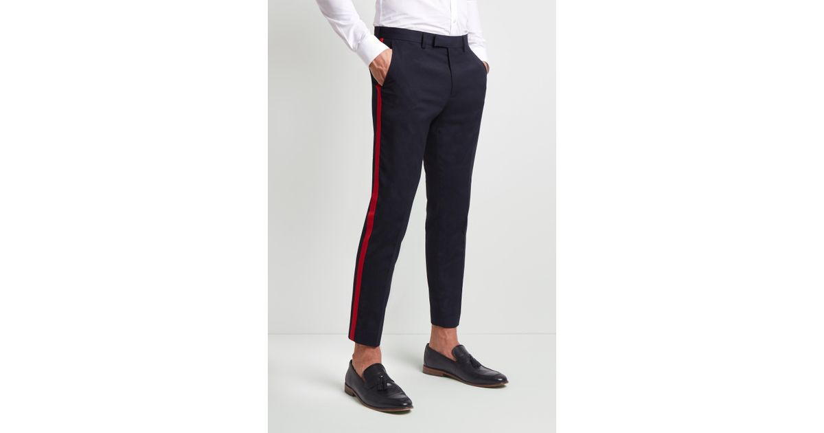 54e48937b41 Lyst - Moss London Skinny Fit Navy With Red Side Stripe Cropped Trousers in  Blue for Men