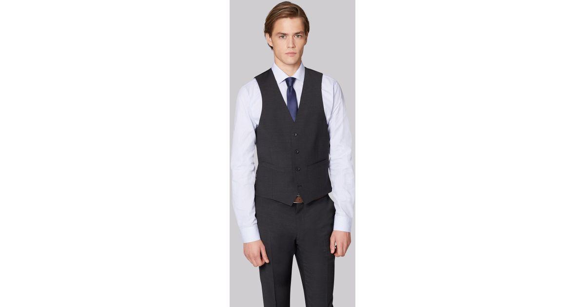 2b15b012b59 Moss London Performance Skinny Fit Charcoal Waistcoat in Gray for Men - Lyst