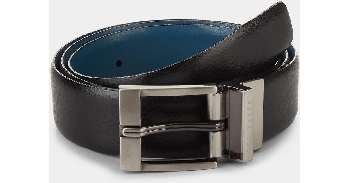 cd6e9e051 Ted Baker Longas Black blue Reversible Belt in Black for Men - Lyst