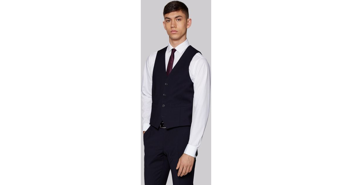 b0877087447 Moss London Performance Skinny Fit Navy Waistcoat in Blue for Men - Lyst