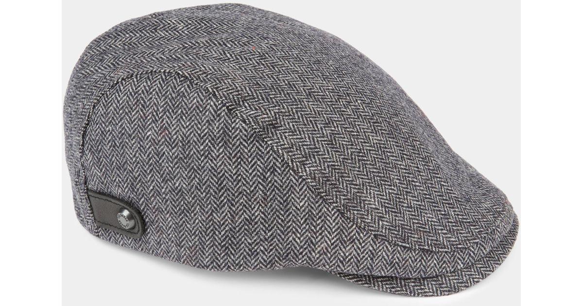 7bc096aae44 Lyst - Ted Baker Asam Herringbone Flat Cap in Gray for Men