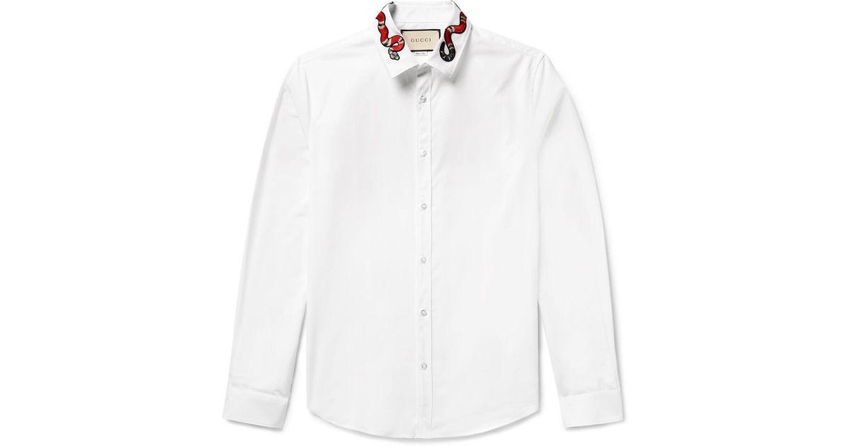 2f1695915 Gucci Duke Snake-appliquéd Cotton-poplin Shirt in White for Men - Lyst