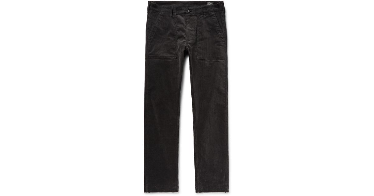 4ae72aff Orslow Slim-fit Stretch-cotton Corduroy Trousers in Black for Men - Lyst