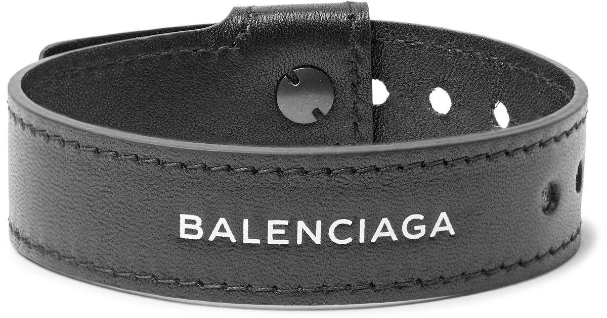 8e9b369a8a45b Lyst - Balenciaga Logo-print Leather Bracelet in Black for Men