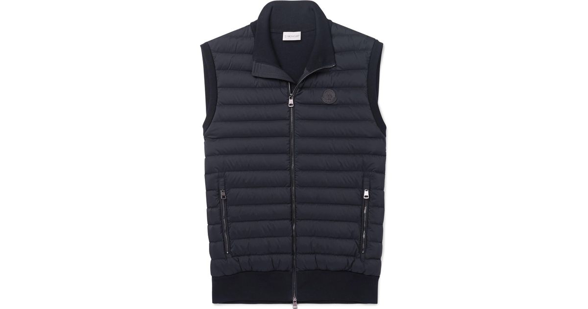 4e9c9a879fee Lyst - Moncler Panelled Cotton-blend Jersey And Quilted Shell Down Gilet in  Blue for Men