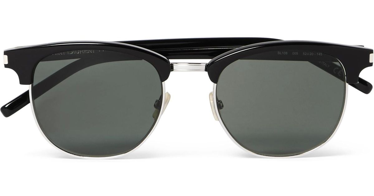 ad8f1c6e32a8 Saint Laurent D-frame Acetate And Silver-tone Sunglasses in Black for Men -  Lyst